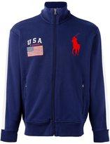 Polo Ralph Lauren flag patch zipped cardigan - men - Cotton/Polyester - XXL