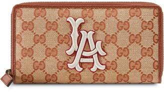Gucci Original GG zip around wallet with LA Angels patch