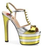 Gucci Angel Metallic Leather Peep Toe Platform T-Strap Sandals
