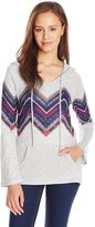 Eyeshadow Junior's Chevron Print Hoodie Pullover Top with Pockets