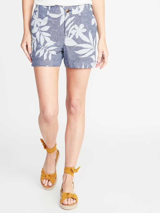 b5b2284fc2 Mid-Rise Printed Linen-Blend Everyday Shorts for Women - 5-inch inseam
