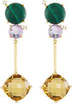 Indulgems Geometric Linear Mixed Gemstone Dangle Earrings