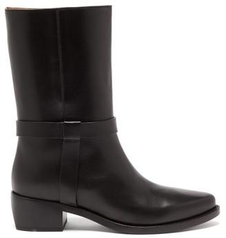 LEGRES Strap-embellished Leather Biker Boots - Black