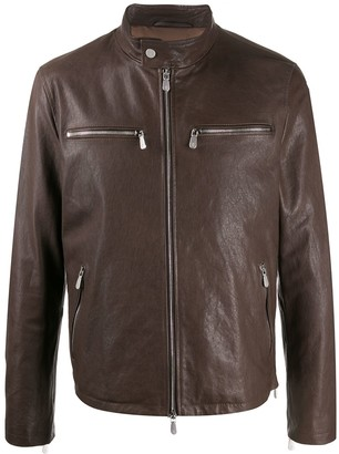 Eleventy Stand-Up Collar Leather Jacket