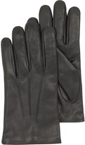Forzieri Black Leather Handmade Men's Gloves w/Wool Lining