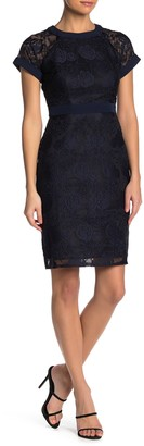 Maggy London Illusion Floral Lace Sheath Dress (Petite)