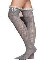 YOYOMA Women Winter Button Boot Socks Lace Trim Boutique Socks Knee Hollow Socks