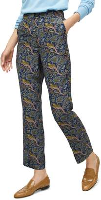 J.Crew Botanical Cheetah Foulard Easy Silk Pants