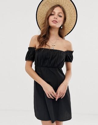 Asos Design DESIGN fuller bust off shoulder mini sundress with ruched bust