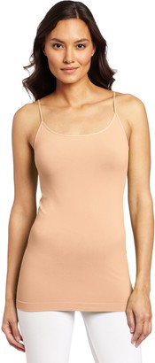 skinnytees Basic Skinny Camisole for Women | Seamless Spaghetti Strap Cami Tank Tops - Bronze - One Size