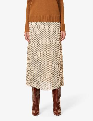 Me And Em Pleated geo print crepe midi skirt