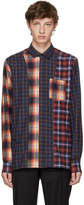 Lanvin Orange & Blue Flannel Multi Check Shirt