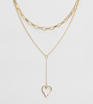 DesignB London Exclusive lariat chain link necklace in gold with heart pendant