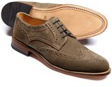 Charles Tyrwhitt Beige Medlyn Suede Wing Tip Brogue Derby Shoes Size 8