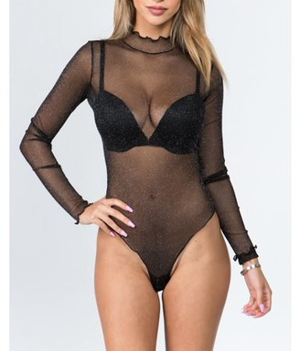 Just Sexy Lingerie Just Sexy Women's Lingerie Mesh Long Sleeve Teddy