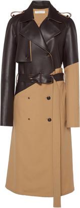 Bottega Veneta Belted Dual Wool and Leather Trench Coat