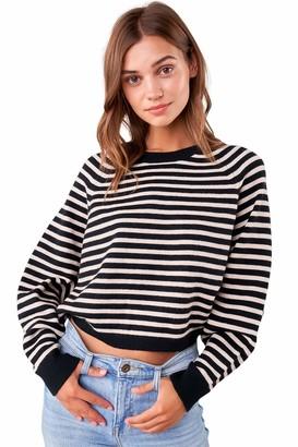 Sugar Lips Sugarlips Women's Striped Cropped Knit Sweater