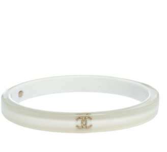 Chanel CC White Resin Bangle Bracelet