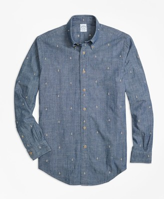 Brooks Brothers Regent Fit Anchor Embroidered Indigo Chambray Sport Shirt