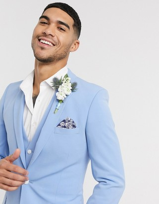 ASOS DESIGN wedding super skinny suit jacket in azure blue in four way stretch