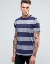 Lyle & Scott Block Stripe T-shirt Eagle Logo In Navy