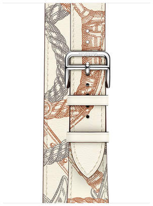 Apple Watch Herms - 40mm Blanc Swift Leather Allover Print Double Tour