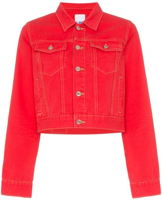 Sjyp cropped fitted denim jacket