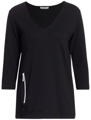 Joan Vass V-Neck Zip Slit Tunic