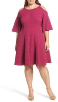 Gabby Skye Plus Size Women's Cold Shoulder Jacquard Fit & Flare Dress