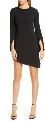 Brandon Maxwell Asymmetrical Split Long Sleeve Dress