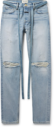 Fear Of God Slim-Fit Belted Distressed Selvedge Denim Jeans