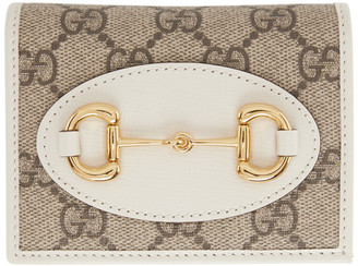 Gucci Beige and White GG 1955 Horsebit Card Holder Wallet