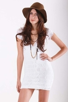 Nightcap Clothing Cap Sleeve Deep V Victorian Dress in White