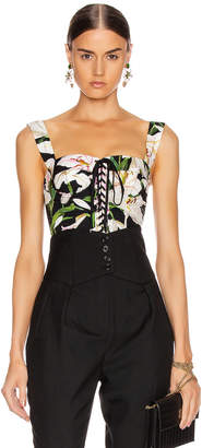 Dolce & Gabbana Lace Up Short Corset Top in Black Floral | FWRD