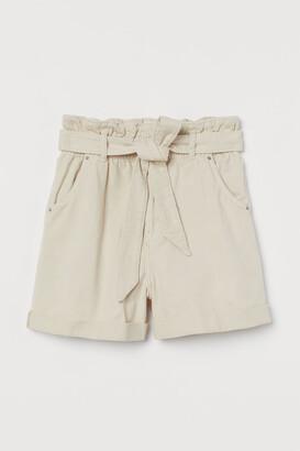 H&M Denim Paper-bag Shorts - Beige
