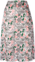 Julien David floral printed midi skirt - women - Silk - XS