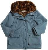 Stella McCartney Nylon & Faux Fur Parka Coat