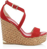 Jimmy Choo PORTIA 120 Red Suede Lasered Cork Covered Wedges