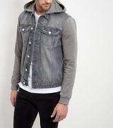 New Look Grey Jersey Sleeve Hooded Denim Jacket