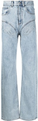 Y/Project Crystal Embellished Wide Leg Jeans