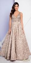Terani Couture Plunging Beaded Brocade A-line Ball Gown with Side Pockets