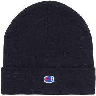 Champion logo embroidered beanie hat