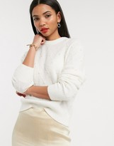 And other stories & pearl embellished round neck sweater in off white