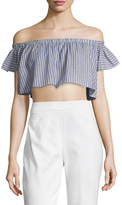 The Jetset Diaries Haven Off Shoulder Striped Crop Top