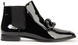 Tory Burch Adrien Chain-trimmed Patent-leather Ankle Boots