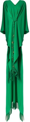 Oscar de la Renta Belted Fringed Maxi Dress
