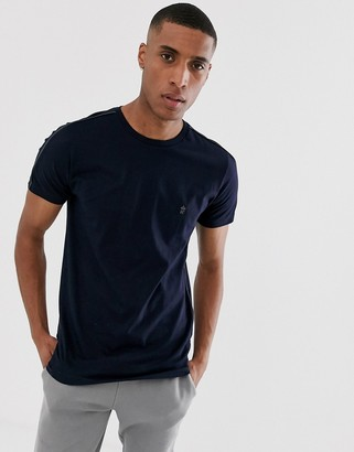 French Connection side piping T-Shirt-Blue