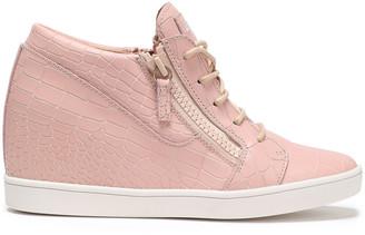 Giuseppe Zanotti Ilean Croc-effect Leather Wedge Sneakers