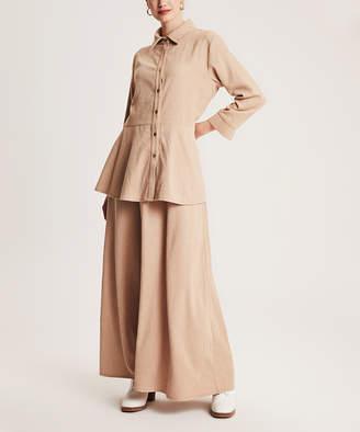 Simmly Women's Maxi Skirts Light - Light Brown Velvet Button-Up & Maxi Skirt - Women