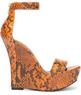 Balmain Snake-Effect Leather Wedge Sandals